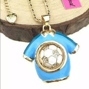NWT Betsey Johnson Jersey& Soccer Ball ⚽️ Necklace